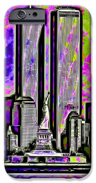 Twin Towers Nyc Digital iPhone Cases - Twins iPhone Case by Daniel Janda