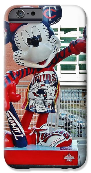 Minnesota Twins Mixed Media iPhone Cases - Twins Mickey Mouse iPhone Case by Todd and candice Dailey
