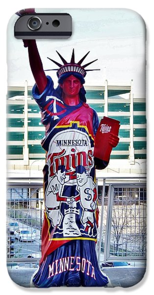 Minnesota Twins Mixed Media iPhone Cases - Twins Statue Of Liberty  iPhone Case by Todd and candice Dailey