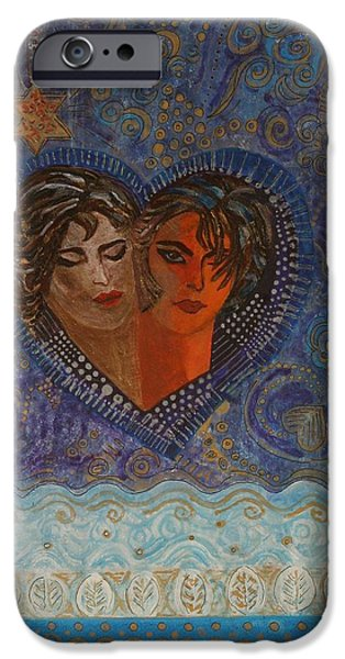 Relationship iPhone Cases - Twinsouls, 2007 Mixed Media iPhone Case by Sabira Manek