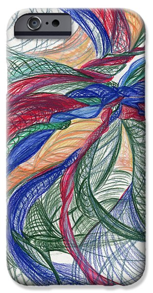Thought Drawings iPhone Cases - Twirls and Cloth iPhone Case by Kelly K H B