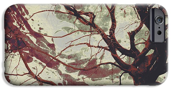 Asymmetrical iPhone Cases - Twisted Dance -  Antique Red iPhone Case by Shawna  Rowe