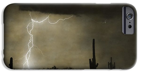 Lightning Images iPhone Cases - Twisted Desert Lightning Storm iPhone Case by James BO  Insogna