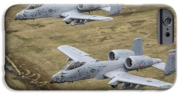Arkansas iPhone Cases - Two A-10 Thunderbolt Iis Conduct iPhone Case by Stocktrek Images