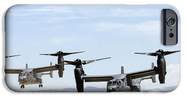 1st Base iPhone Cases - Two Air Force CV-22 Ospreys iPhone Case by Russell Scalf - L Brown