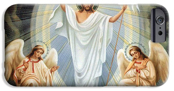 Jesus iPhone Cases - Two Angels iPhone Case by Munir Alawi