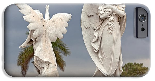 Seraphim Angel iPhone Cases - Two Angels With Cross iPhone Case by Terry Reynoldson