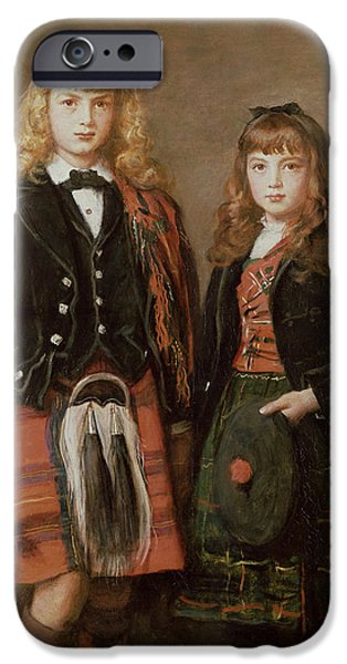 Child iPhone Cases - Two Bairns Oil On Canvas iPhone Case by Sir John Everett Millais