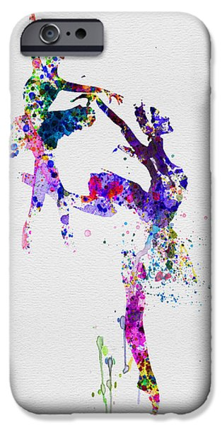 Couple iPhone Cases - Two Ballerinas Dance Watercolor iPhone Case by Naxart Studio