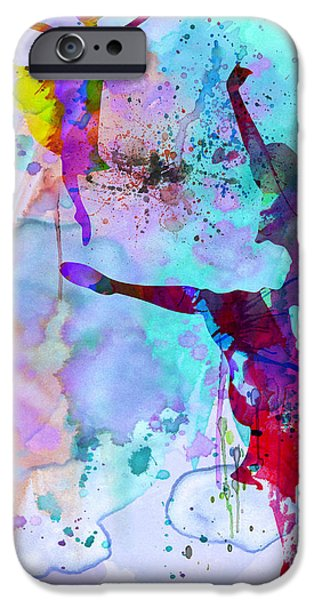 Couple iPhone Cases - Two Ballerinas Watercolor 4 iPhone Case by Naxart Studio