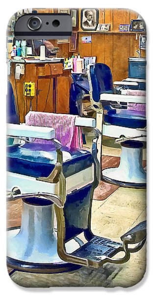 Barberchairs iPhone Cases - Two Barber Chairs With Pink Striped Barber Capes iPhone Case by Susan Savad