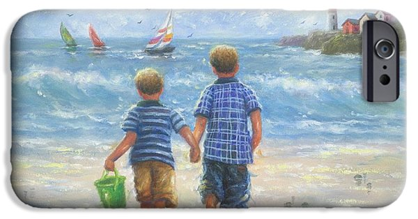 Sailboats iPhone Cases - Two Beach Boys Walking iPhone Case by Vickie Wade