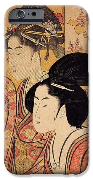 Beauty Mark iPhone Cases - Two Beauties With Bamboo iPhone Case by Nomad Art And  Design