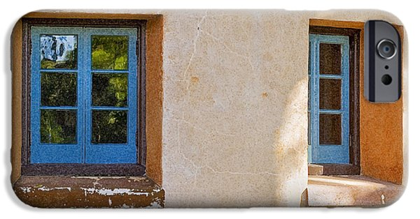Spanish House iPhone Cases - Two Blue Windows iPhone Case by Rich Franco