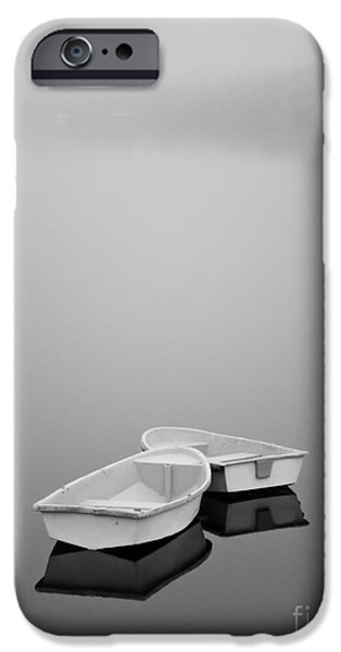 Two Boats and Fog iPhone Case by Dave Gordon