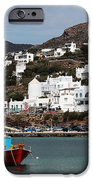 Two Boats in the Mykonos Harbor iPhone Case by John Rizzuto