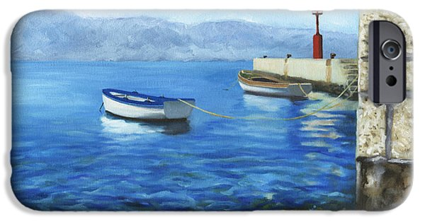Boats In Water Paintings iPhone Cases - Two Boats iPhone Case by Joe Maracic
