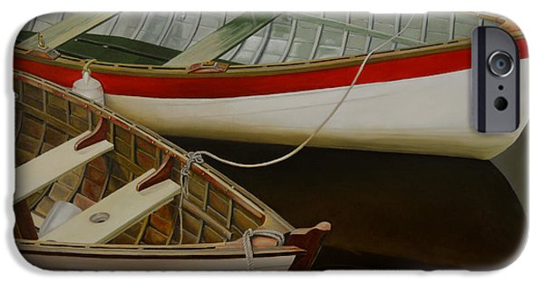 Business Paintings iPhone Cases - Two Boats iPhone Case by Thu Nguyen