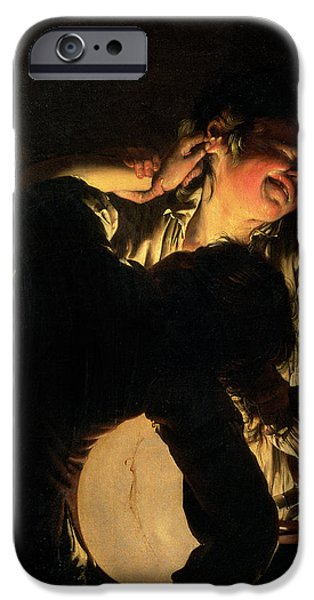 Candle Lit iPhone Cases - Two Boys Fighting Over A Bladder, C.1767-70 iPhone Case by Joseph Wright of Derby