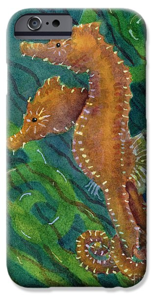Seahorse iPhone Cases - Two By Sea iPhone Case by Amy Kirkpatrick