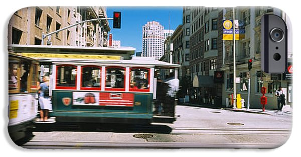San Francisco Street iPhone Cases - Two Cable Cars On A Road, Downtown, San iPhone Case by Panoramic Images