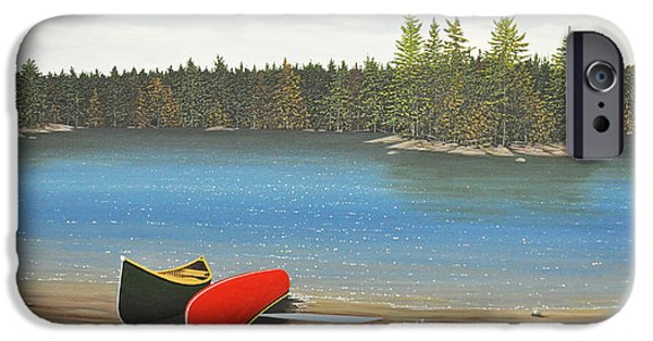 Canoe iPhone Cases - Two Canoes iPhone Case by Kenneth M  Kirsch