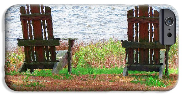 Empty Chairs Paintings iPhone Cases - Two Chairs Facing the Lake iPhone Case by Lanjee Chee