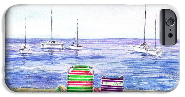 Sailboats iPhone Cases - Two Chairs On The Beach iPhone Case by Irina Sztukowski
