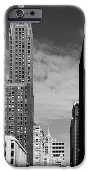 Interior Scene iPhone Cases - Two Chicago Classics- Carbide and Carbon and Wrigley Building iPhone Case by Christine Till