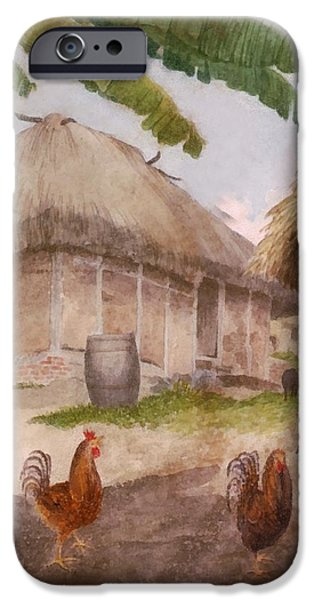 Rain Barrel iPhone Cases - Two Chickens Two Pigs and Huts Jamaica iPhone Case by William Berryman