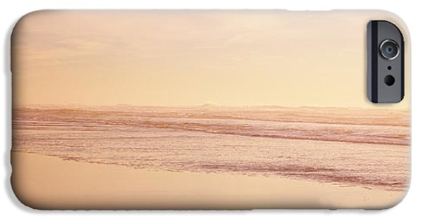 Two Waves iPhone Cases - Two Children Playing On The Beach, San iPhone Case by Panoramic Images
