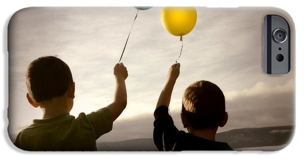 Freedom Party iPhone Cases - Two Children With Balloons iPhone Case by Con Tanasiuk