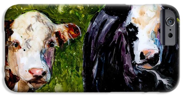 Farm Fields Paintings iPhone Cases - Two Cows iPhone Case by Molly Poole