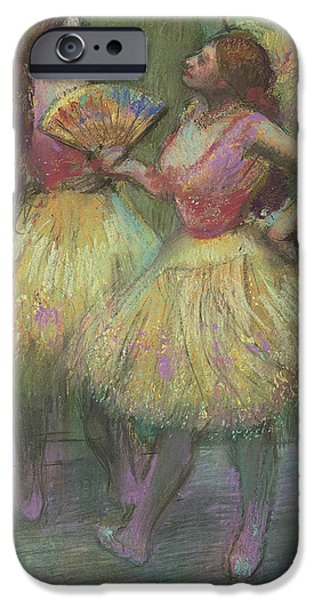 Feminine Pastels iPhone Cases - Two Dancers Before Going on Stage iPhone Case by Edgar Degas
