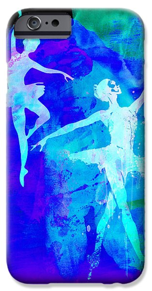 Entertainment iPhone Cases - Two Dancing Ballerinas  iPhone Case by Naxart Studio
