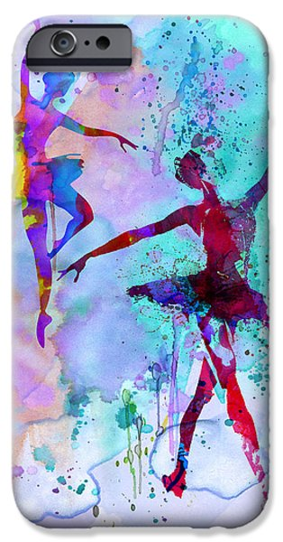 Entertaining iPhone Cases - Two Dancing Ballerinas Watercolor 2 iPhone Case by Naxart Studio