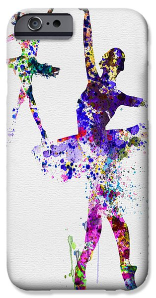 Ballet Digital Art iPhone Cases - Two Dancing Ballerinas Watercolor 4 iPhone Case by Naxart Studio