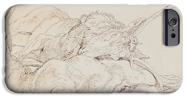 Animal Drawings iPhone Cases - Two Dead Stags iPhone Case by Sir Edwin Landseer