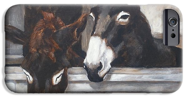 Interior Scene iPhone Cases - Two donkeys iPhone Case by Anke Classen