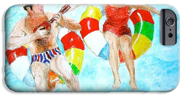 Ukelele iPhone Cases - Two Drifters Off to See the World iPhone Case by Beth Saffer