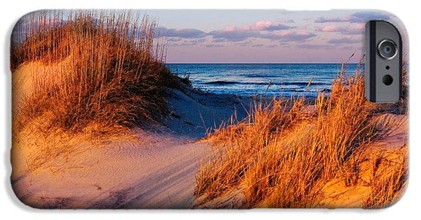 Recently Sold -  - Ocean Sunset iPhone Cases - Two Dunes at Sunset - Outer Banks iPhone Case by Dan Carmichael