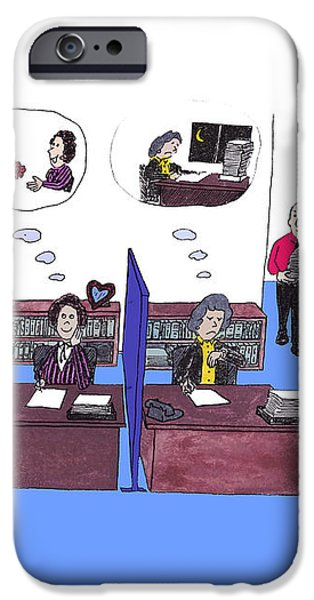 Two female office workers thinking iPhone Case by LEE SERENETHOS