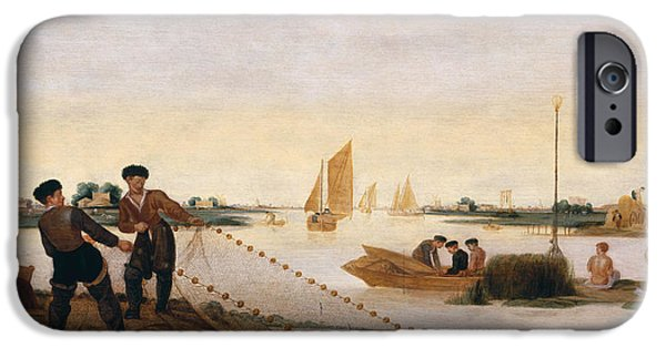 Fishermen iPhone Cases - Two Fishermen Pulling In Their Nets Oil On Panel iPhone Case by Arent Arentsz