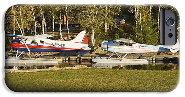 Airplanes Photographs iPhone Cases - Two Float Planes On Moosehead Lake Near Greenville Maine  iPhone Case by Keith Webber Jr