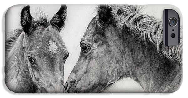 Decor Drawings iPhone Cases - Two Foals iPhone Case by Hailey E Herrera