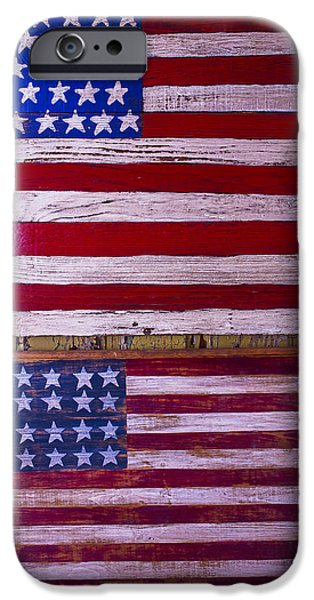 Chip iPhone Cases - Two Folk Art Flags iPhone Case by Garry Gay