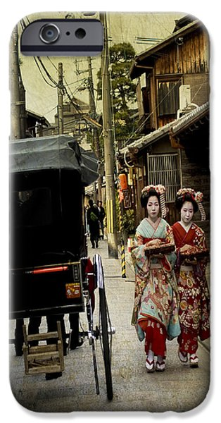Kyoto iPhone Cases - Two Geishas and a Buggy iPhone Case by Juli Scalzi