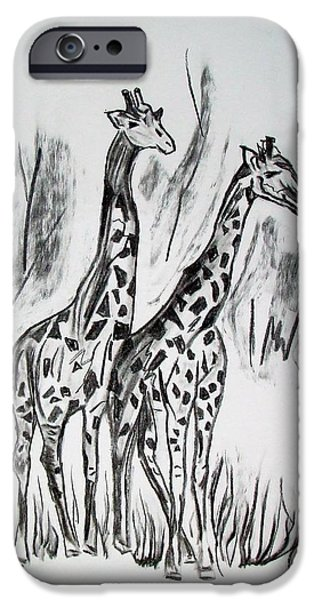 Dirty iPhone Cases - Two Giraffes in Graphite iPhone Case by Janice Rae Pariza