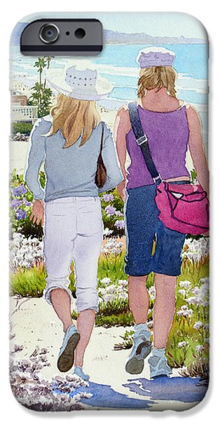 Beach Landscape iPhone Cases - Two Girls at Dog Beach Del Mar iPhone Case by Mary Helmreich