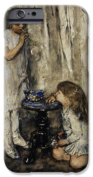19th Century Photographs iPhone Cases - Two Girls Blowing Bubbles, C. 1880, By Jacob Maris 1837-1899 iPhone Case by Bridgeman Images